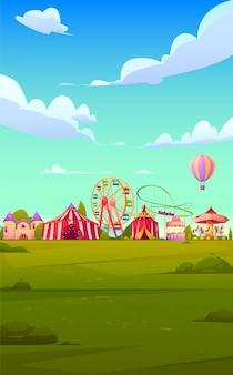 Smartphone-hintergrundthema mit karnevals-jahrmarkt