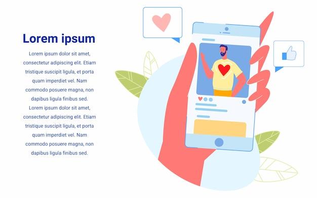 Smartphone hübscher junger mann-blogger auf dem bildschirm