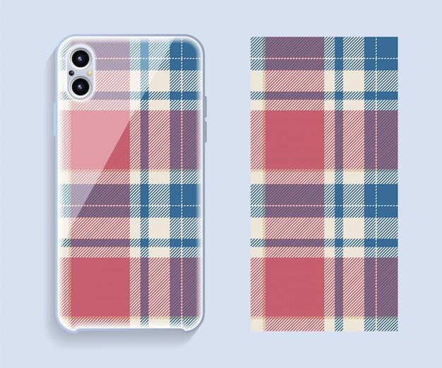 Smartphone-hülle design. schablonengeometrisches muster für handy-rückenteil. flaches design.