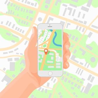 Smartphone in der hand mit navigationskarte