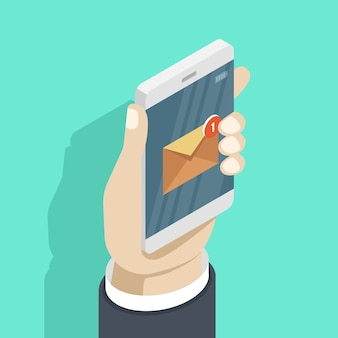 Smartphone in der hand mit neuer mitteilung e-mail-benachrichtigung am handy