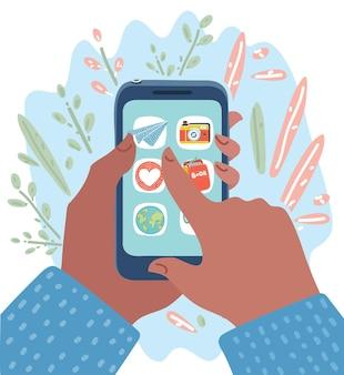 Smartphone in menschenhand