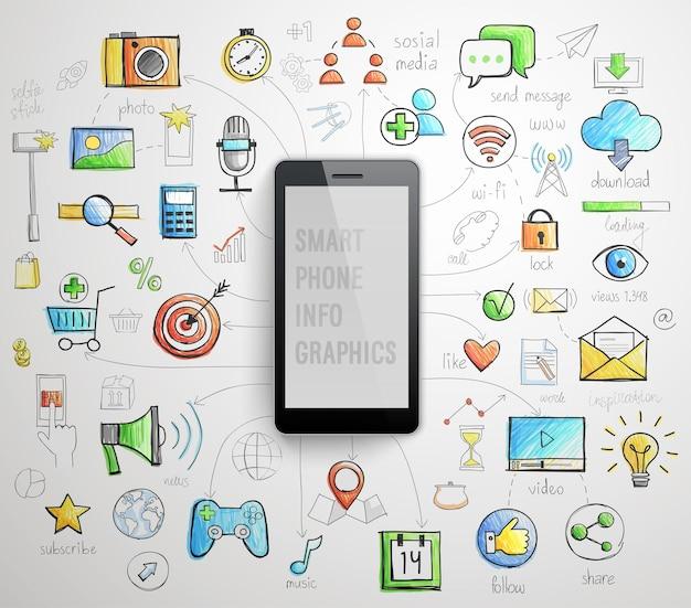 Smartphone-infografiken im handgezeichneten stil