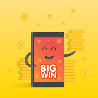 Smartphone-konzept des geldverdienens, viele münzen. hintergrund des geldes fällt. niedliches cartoon-charakter-telefon mit händen, augen und lächeln.