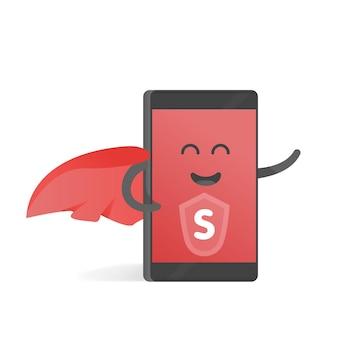 Smartphone-konzept des superhelden mit rotem umhang. niedliches cartoon-charakter-telefon mit händen, augen und lächeln.