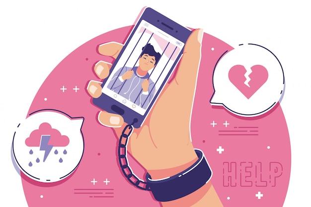 Smartphone-konzeptillustration mit negativem effekt