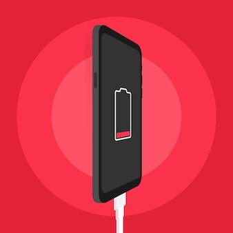 Smartphone-ladeadapter und steckdose, benachrichtigung bei niedrigem batteriestand. vektor-illustration auf lager.