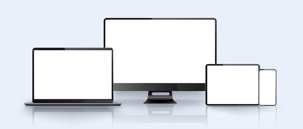 Smartphone, laptop, pc, tablet-gerät. vorlage für die präsentation
