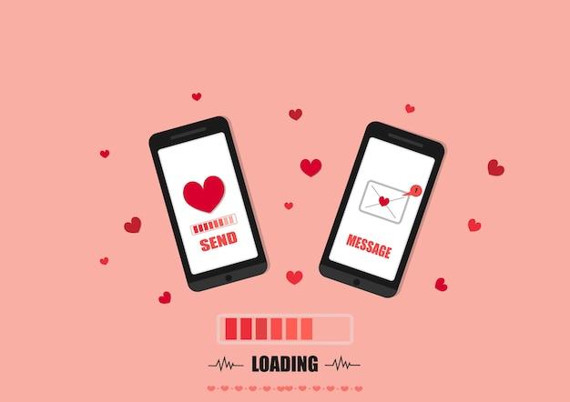Smartphone-liebesmitteilungsvektor