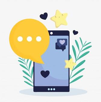 Smartphone lieblingsstar sprechblase social media
