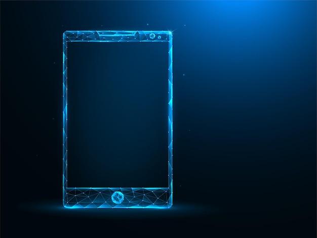 Smartphone low poly art. polygonale illustrationen des mobilen geräts auf blauem hintergrund.