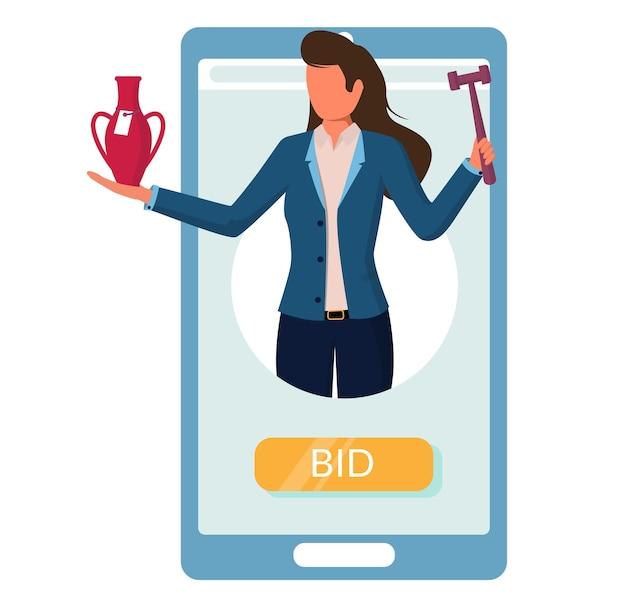 Smartphone mit auktionator mit hammer, vase. online-auktion, internet-gebote vom handy, vektorillustration.