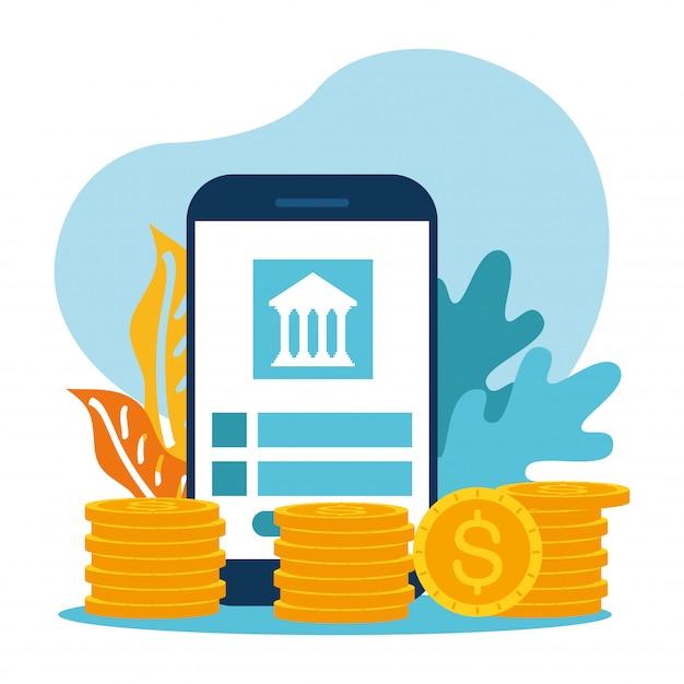 Smartphone mit bank und münzen