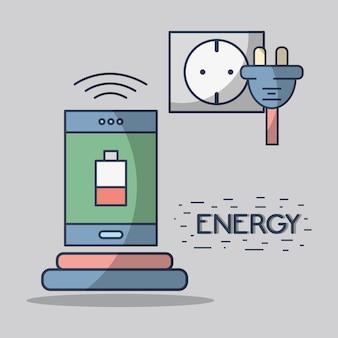 Smartphone mit batterie niedrig und energiekabel