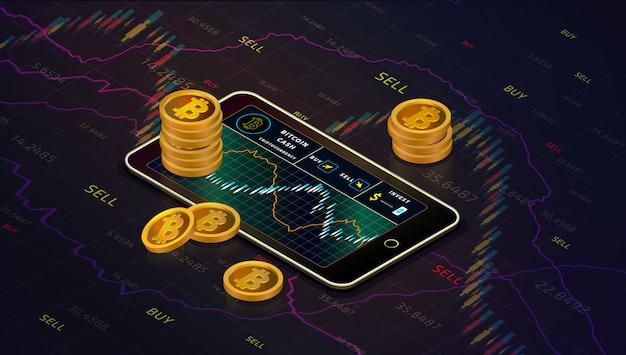 Smartphone mit bitcoin-bargelddiagramm, isometrisches konzept der gold-bitcoin-bargeldmünzen. geschäft g