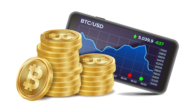 Smartphone mit bitcoin-handelsdiagramm