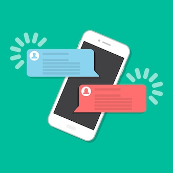 Smartphone mit chat in einem flachen stil