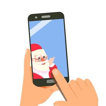 Smartphone mit dem weihnachtsmann