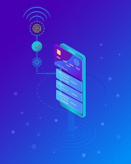 Smartphone mit der abwicklung mobiler zahlungen von kreditkarte. digitaler fingerabdruck