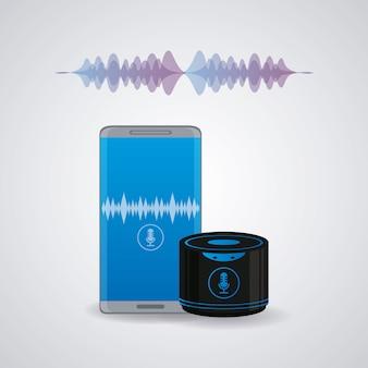 Smartphone mit drahtlosem lautsprecher verbunden
