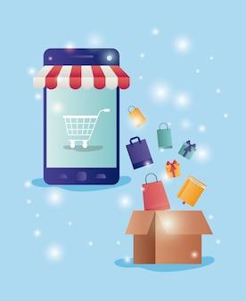 Smartphone mit e-commerce-ikonen des sonnenschirmes