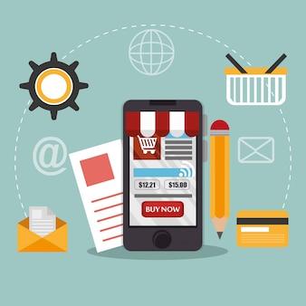 Smartphone mit e-commerce-symbolen