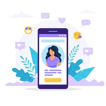 Smartphone mit einem frauenavatar, -text und -knopf. unterschiedliche symbole mit likes und nachrichten.