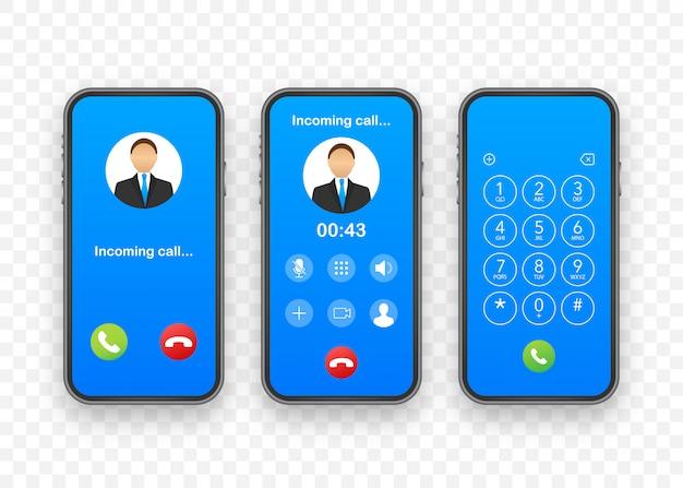 Smartphone mit eingehendem anruf auf dem display. eingehender anruf. illustration.
