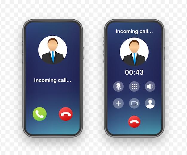 Smartphone mit eingehendem anruf auf dem display. eingehender anruf. lager illustration.