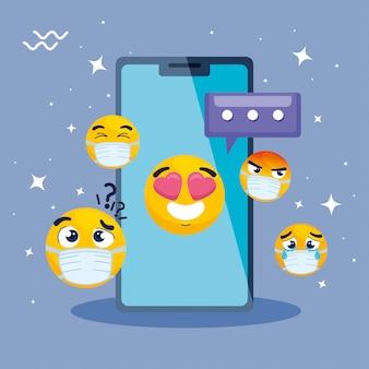 Smartphone mit eingestellten emojis, gelbe gesichter im vektorillustrationsdesign des smartphone-geräts