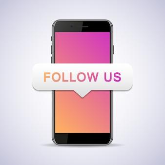 Smartphone mit follow-us-sprechblase.