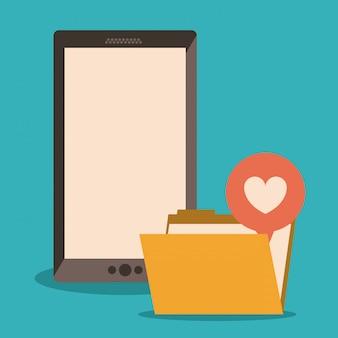 Smartphone mit geschäftsdatei und herzen