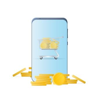 Smartphone mit goldmünzen. telefon, ein berg von münzen. das konzept von cashback und mobile banking. isoliert. vektor.