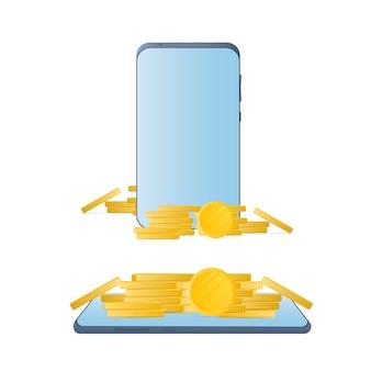 Smartphone mit goldmünzen. telefon, ein berg von münzen. das konzept von cashback und mobile banking.