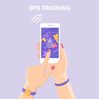 Smartphone mit gps-navigations-app, tracking. handy mit kartenanwendung