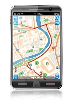 Smartphone mit gps-navigationsanwendung