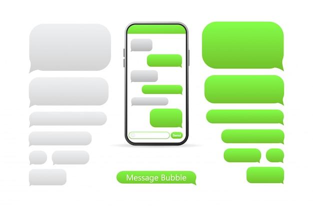 Smartphone mit grünen nachrichtenblasen-symbolen für den chat.