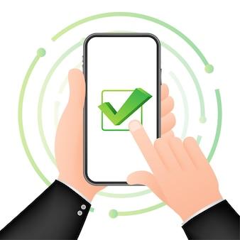 Smartphone mit häkchen- oder häkchenbenachrichtigung in der blase. genehmigte wahl. häkchen akzeptieren oder genehmigen. vektorgrafik auf lager.