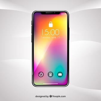 Smartphone mit hintergrund mit farbverlauf