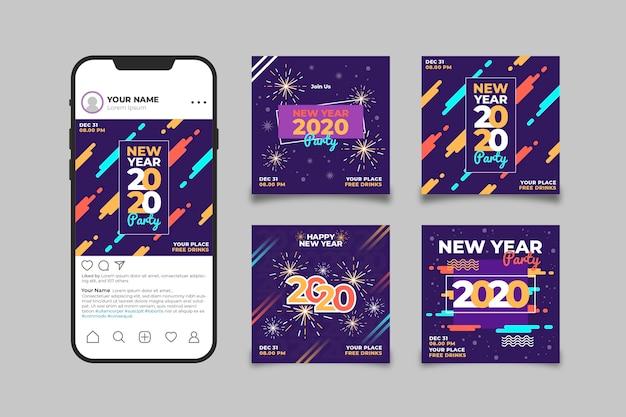 Smartphone mit instagram-plattform, gefüllt mit neujahrsfotos