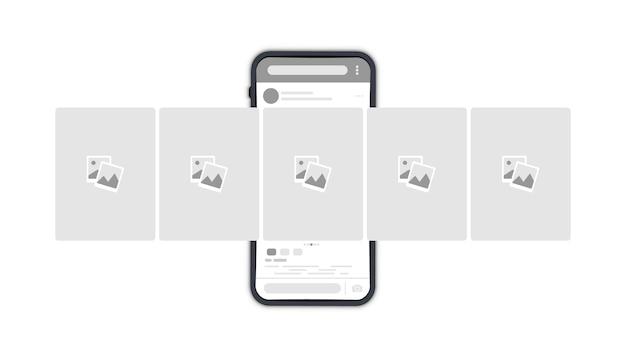 Smartphone mit interface-karussell-post im sozialen netzwerk. vorlage für ein telefonmodell. social-media-geschichte. moderne flache vektorillustration. online-story-post, kommentar-chat, karussell-werbebanner