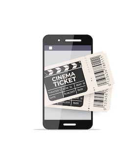 Smartphone mit kinokarten auf dem bildschirm