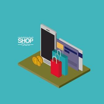 Smartphone mit kreditkarten und einkaufstaschen