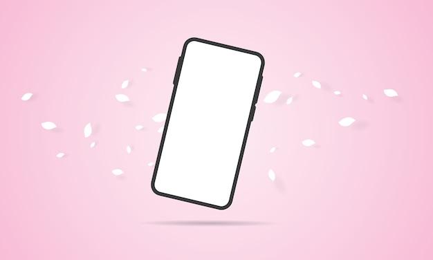 Smartphone mit leerem bildschirm auf rosa hintergrund Premium Vektoren