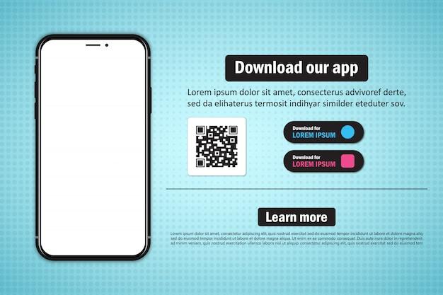 Smartphone mit leerem bildschirm zum herunterladen der app mit qr-code