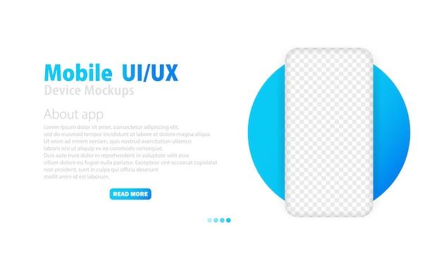 Smartphone mit leerem transparentem bildschirm. telefonmodell. rahmen weniger smartphone. rahmenlose realistische handyvorlage für infografiken oder präsentationen. ui- und ux-design-schnittstelle. lorem ipsum.