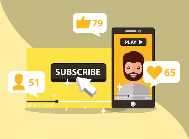 Smartphone mit mann auf dem bildschirm abonnieren beliebte sender