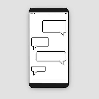 Smartphone mit meldungsfeld (sprechblase)