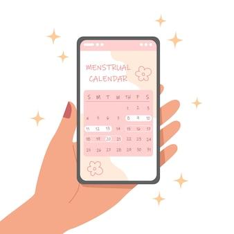 Smartphone mit menstruationszykluskalender auf dem bildschirm
