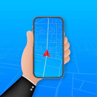 Smartphone mit mobiler navigations-app auf dem bildschirm. routenkarte mit symbolen, die den standort des menschen anzeigen. illustration.